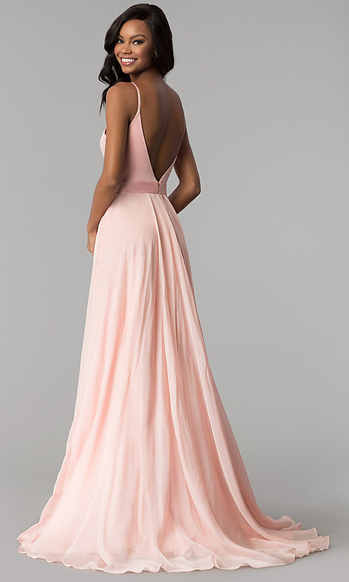 Image of long chiffon and satin v-neck prom dress. Style: JO-JVN-JVN51181 Back Image