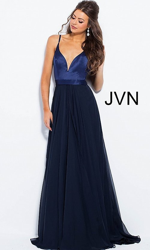 Image of long chiffon and satin v-neck prom dress. Style: JO-JVN-JVN51181 Detail Image 1