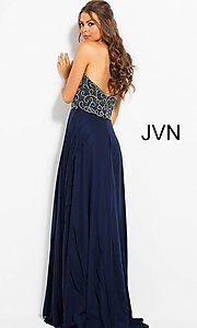 Image of long strapless JVN by Jovani prom dress with beading. Style: JO-JVN-JVN53367 Back Image