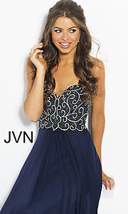 Image of long strapless JVN by Jovani prom dress with beading. Style: JO-JVN-JVN53367 Detail Image 1