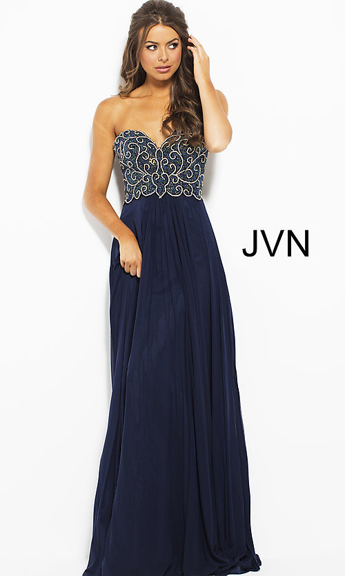 Image of long strapless JVN by Jovani prom dress with beading. Style: JO-JVN-JVN53367 Front Image