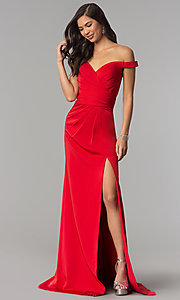 Long Off-the-Shoulder Prom Dress with Pleating