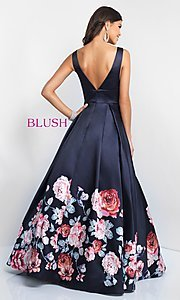 Image of v-neck long Blush prom dress with floral-print skirt. Style: BL-5661 Back Image