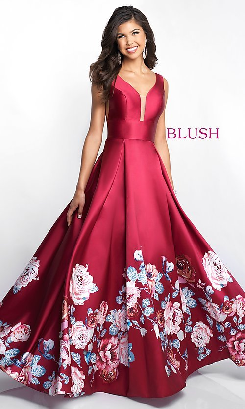 Image of v-neck long Blush prom dress with floral-print skirt. Style: BL-5661 Detail Image 2