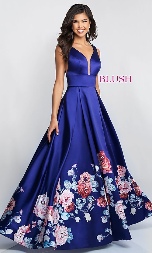 Image of v-neck long Blush prom dress with floral-print skirt. Style: BL-5661 Front Image