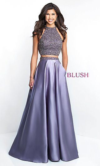 Two-Piece Long Blush A-Line Prom Dress with Pockets