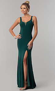 Image of princess-cut v-neck long prom dress with open back. Style: AL-60011 Front Image