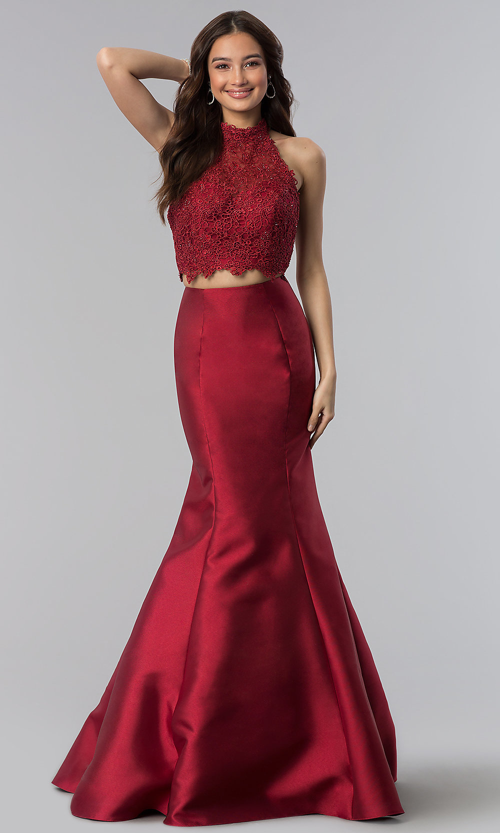513ab8f7ad83 Long Two-Piece Prom Dress with Lace Top and Mermaid