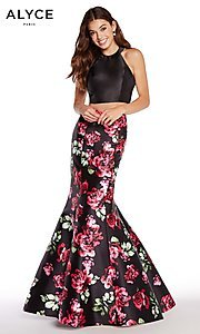 Two-Piece Black Print Long Alyce Prom Dress