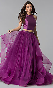 Image of two-piece open-back long prom dress by Alyce. Style: AL-60210 Detail Image 3