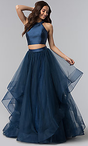 Two-Piece Open-Back Long Prom Dress by Alyce
