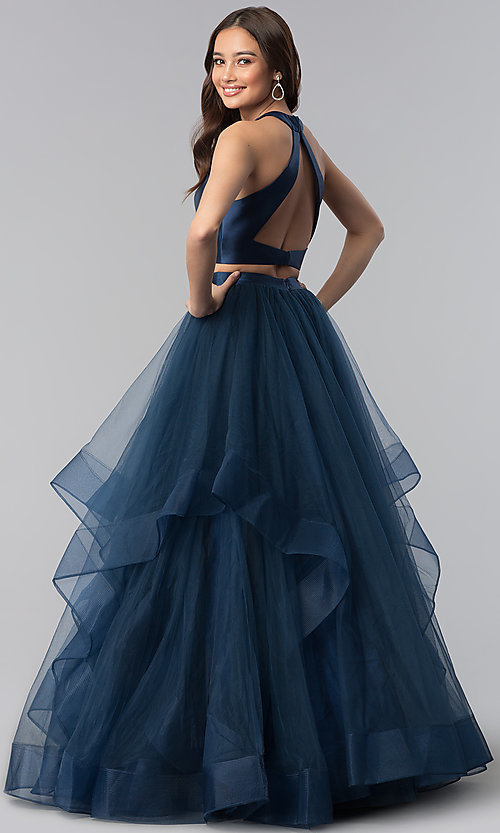 Image of two-piece open-back long prom dress by Alyce. Style: AL-60210 Back Image