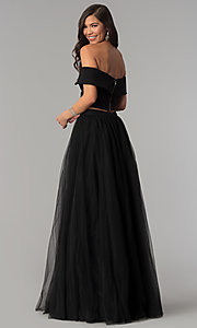 Image of long off-the-shoulder two-piece prom dress. Style: AL-HL-111-2 Back Image