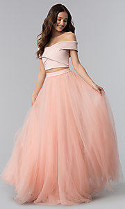 Image of long off-the-shoulder two-piece prom dress. Style: AL-HL-111-2 Detail Image 3