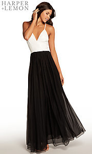 Image of black and white v-neck long prom dress. Style: AL-HL-266 Front Image
