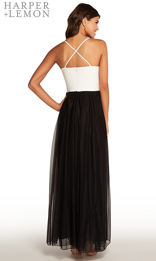 Image of black and white v-neck long prom dress. Style: AL-HL-266 Back Image