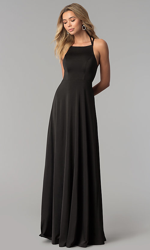 Image of long prom dress with strappy corset back. Style: AL-HL-251 Detail Image 2
