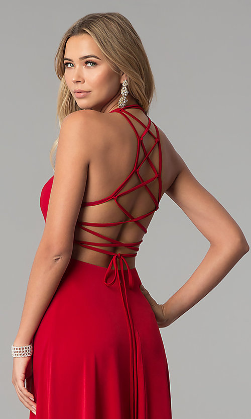 Image of long prom dress with strappy corset back. Style: AL-HL-251 Detail Image 1