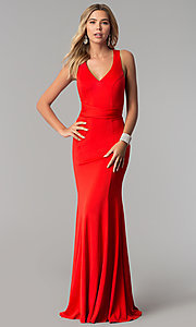 Image of long v-neck designer prom dress with wrap bodice. Style: AL-HL-256 Detail Image 3