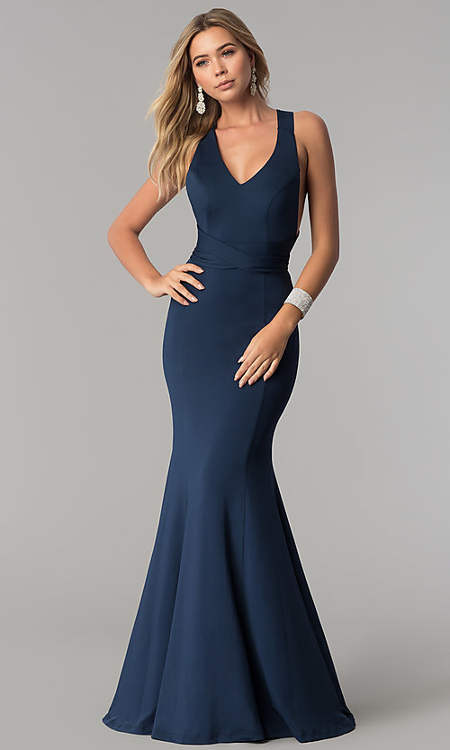 Image of long v-neck designer prom dress with wrap bodice. Style: AL-HL-256 Front Image