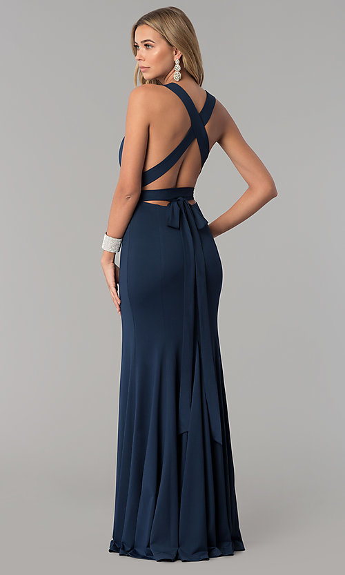Image of long v-neck designer prom dress with wrap bodice. Style: AL-HL-256 Back Image