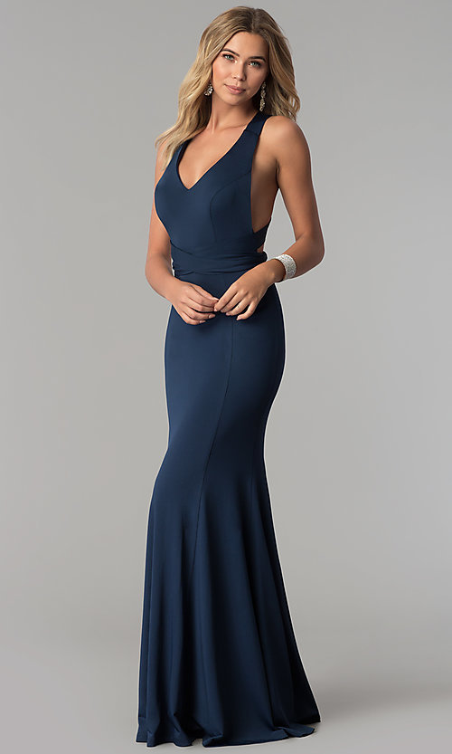 Image of long v-neck designer prom dress with wrap bodice. Style: AL-HL-256 Detail Image 1