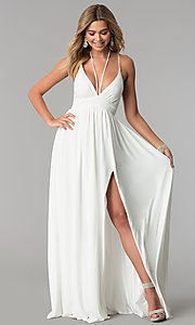 Image of low-v-neck ivory white formal prom dress. Style: AL-HL-252 Detail Image 1