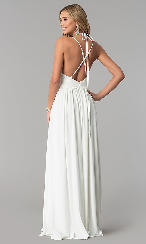 Image of low-v-neck ivory white formal prom dress. Style: AL-HL-252 Back Image