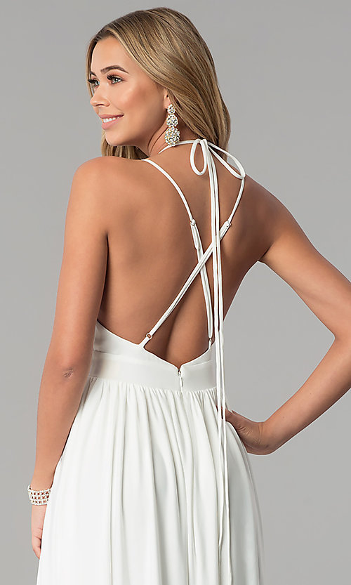 Image of low-v-neck ivory white formal prom dress. Style: AL-HL-252 Detail Image 3