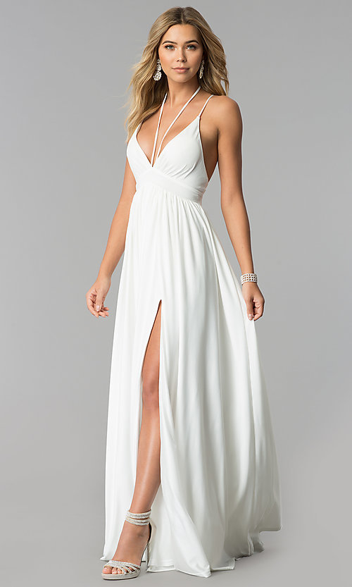 Ivory White Long Formal Prom Dress - PromGirl