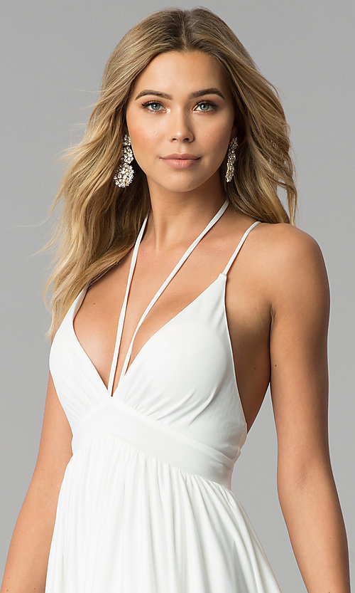 Image of low-v-neck ivory white formal prom dress. Style: AL-HL-252 Detail Image 2