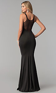 Image of illusion-back long black prom dress. Style: AL-HL-255 Back Image