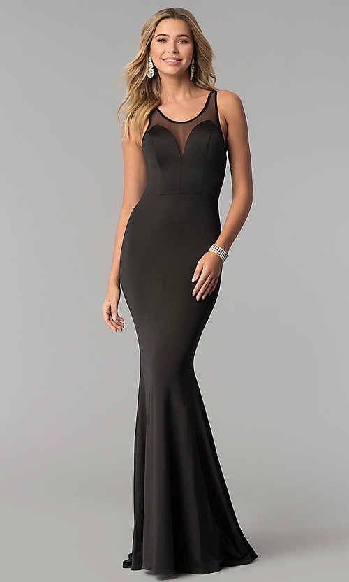 Image of illusion-back long black prom dress. Style: AL-HL-255 Front Image