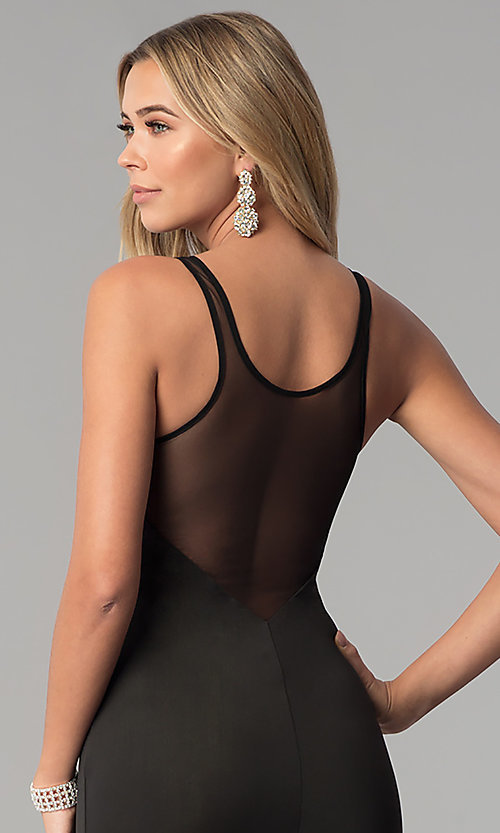 Image of illusion-back long black prom dress. Style: AL-HL-255 Detail Image 2