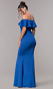 Image of long royal blue off-the-shoulder prom dress. Style: AL-HL-257 Back Image