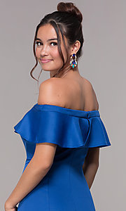 Image of long royal blue off-the-shoulder prom dress. Style: AL-HL-257 Detail Image 2