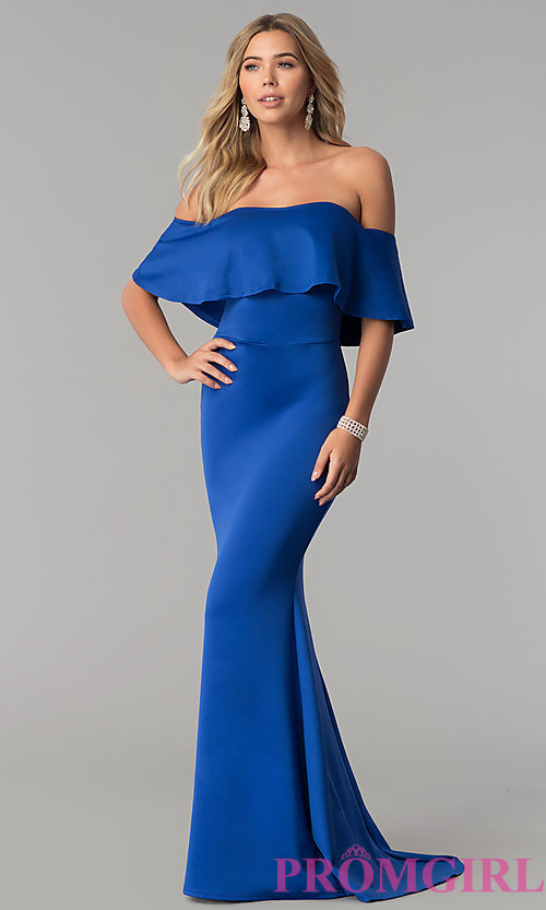 Image of long royal blue off-the-shoulder prom dress. Style: AL-HL-257 Front Image