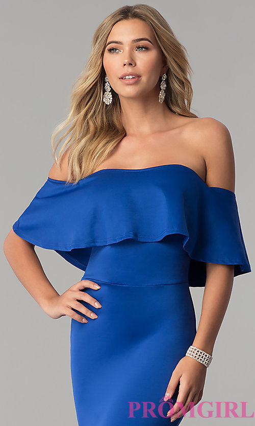 Image of long royal blue off-the-shoulder prom dress. Style: AL-HL-257 Detail Image 1