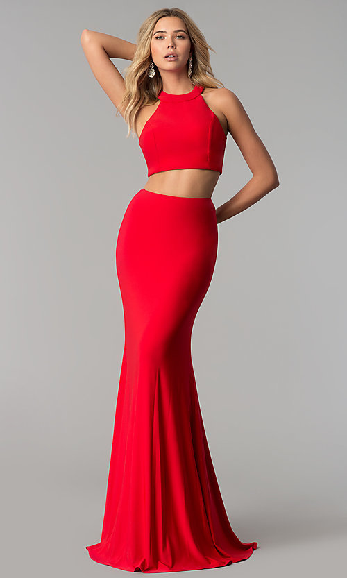 Image of two-piece long prom dress by Harper and Lemon. Style: AL-HL-253 Front Image
