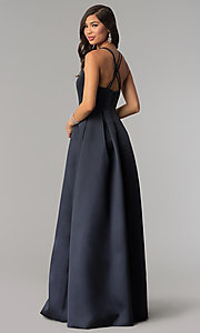 Image of long v-neck a-line prom dress by Harper and Lemon. Style: AL-HL-262 Back Image