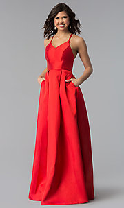 Image of long v-neck a-line prom dress by Harper and Lemon. Style: AL-HL-262 Detail Image 2