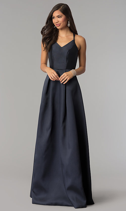 Image of long v-neck a-line prom dress by Harper and Lemon. Style: AL-HL-262 Front Image