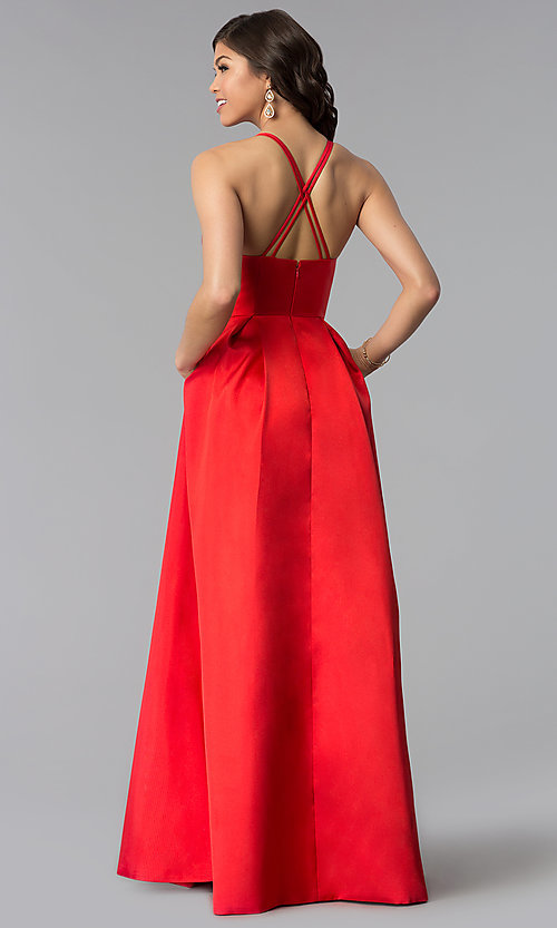 Image of long v-neck a-line prom dress by Harper and Lemon. Style: AL-HL-262 Detail Image 3
