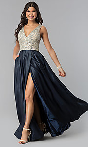 Long V-Neck Prom Dress with Slit