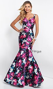 V-Neck Mermaid Floral-Print Prom Dress