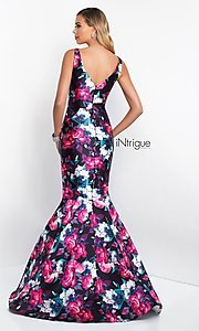 Image of v-neck mermaid floral-print prom dress by Blush. Style: BL-IN-403 Back Image