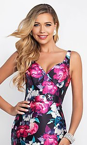 Image of v-neck mermaid floral-print prom dress by Blush. Style: BL-IN-403 Detail Image 1