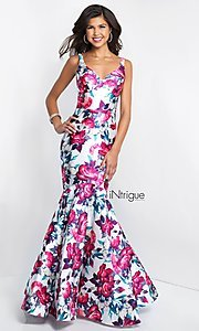 Image of v-neck mermaid floral-print prom dress by Blush. Style: BL-IN-403 Detail Image 2