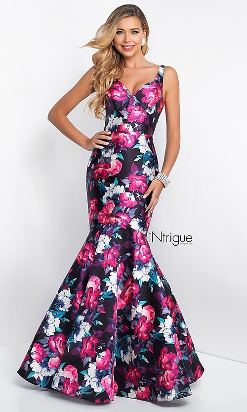 Image of v-neck mermaid floral-print prom dress by Blush. Style: BL-IN-403 Front Image