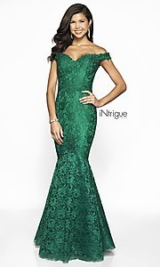 Image of off-the-shoulder long lace mermaid prom dress. Style: BL-IN-425 Detail Image 5